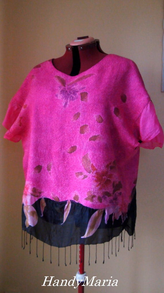Nuno felted   tunic   top , cerise-black ,Reversible  2 in 1