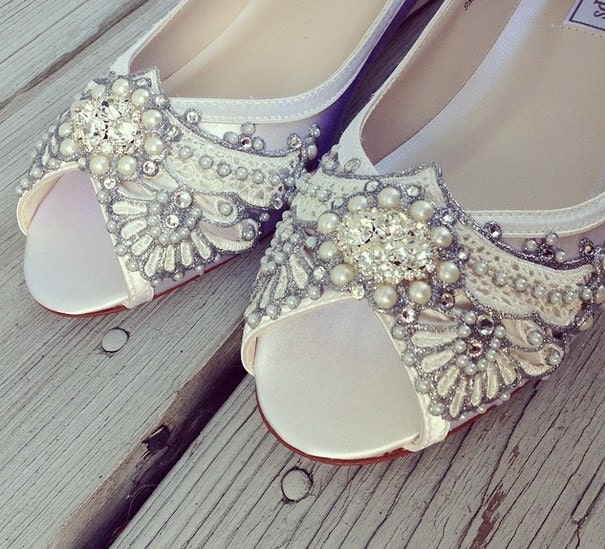 wedding shoes deco inspired peep toe wedge lace