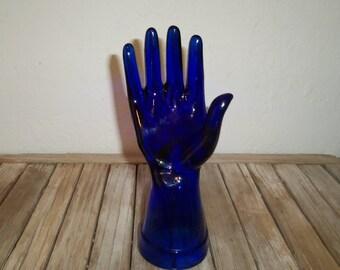 Vintage Cobalt Blue Glass Hand Form Glove Mold