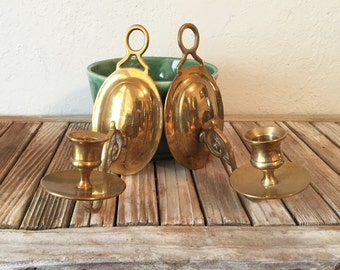 Pair of Vintage Gold Brass Wall Scone Candle Holder