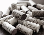 Corks Photograph- Wine Corks Photo, Wine Photography, Black and White Print, Still Life Photo, Kitchen Dining Wall Decor, Modern Bar Decor