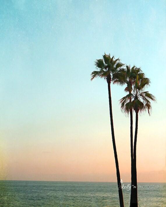 Palm Tree Beach: Palm Tree Photograph Laguna Beach Sunset Photo Summer Beach