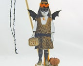 RESERVED: Bat Ghoul, A Halloween Vintage Spool Figure