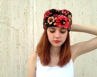 Vintage hat sequins brown floral