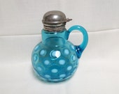 Antique Coin Dot Coinspot Blue Opalescent Syrup Pitcher Mouth Blown Victorian Elegant Glass