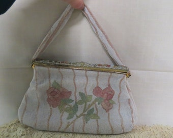 Vintage French Glass Beaded Purse Pink Roses Green Leaves Cloisonne Roses Evening Bag