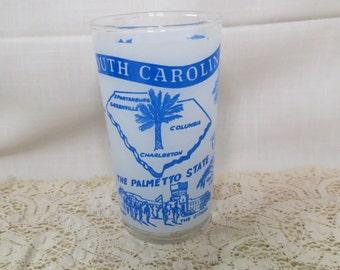 South Carolina Souvenir Tumbler Glass Vintage Kitchen Ware Kitchenware The Palmetto State