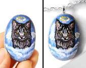 Maine Coon Cat Necklace, Cat Jewelry, Pet Portrait, Rock Art, Angel Jewelry, Pet Memorial Gift, Beach Stone, Gray Cat
