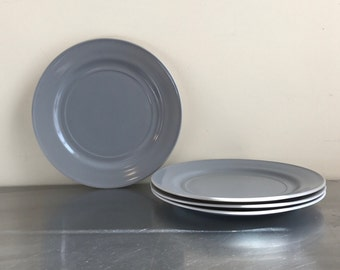 Milk Glass Dinner Plates, Grey, 9""