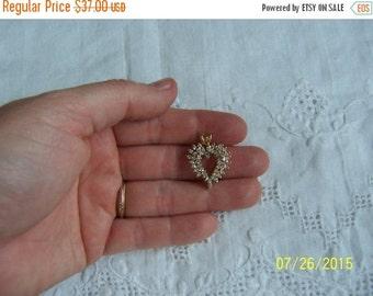 20 OFF EVERYTHING Vintage Heart Cubic zirconia pendant. Vermeil.