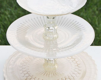 Tiered Cupcake Stand Ivory Shabby Chic 3 Tier Vintage Reclaimed Cake Stand Serving Platter