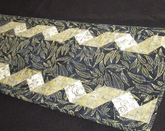 Quilted Indigo Batik Table Runner