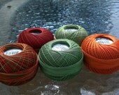 Lizbeth Tatting Thread - 5 Colors - Harvest Mix - Your Choice of Length - Size 20 (#694, 684, 673, 136 and 138)