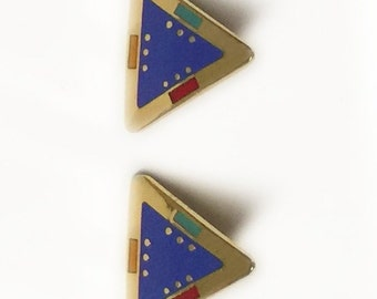 Laurel Burch FOR MARIE Earrings - Triangles - Cloisonne - Retired Design and Discontinued Jewelry Line - Collectible - Vintage