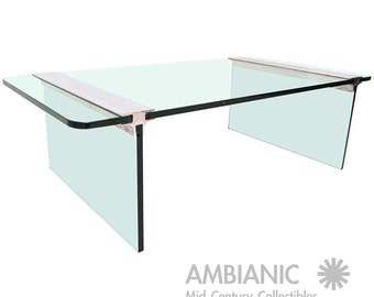Mid Century Modern Pace Collection Coffee Table, Glass And Aluminum