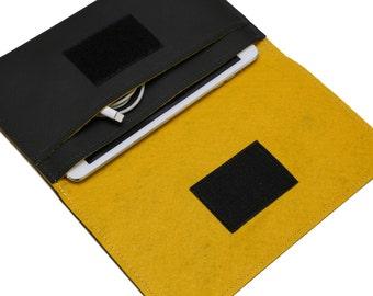 Personalized tablet case, iPad mini 4 Sleeve, iPad mini 4 Case, Embroidered ipad case - Black & Yellow