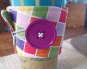 Fun Coffee Cozy, Bright Colors and Large Purple Button