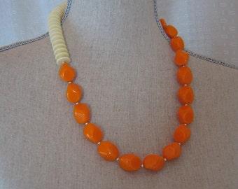 Orange and Cream Vintage Plastic Necklace