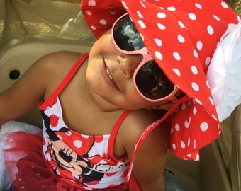 Toddler-Infants Baby Girl  Red with white polka dot Sun Hat, flower sun hat ,ready to ship.