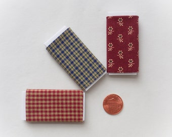 Dollhouse Miniature Set of Three Bolts of Fabric - Country Classics, One inch scale, 1:12 Scale