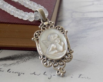 Mother of Pearl Cherub Cameo Moonstone Sterling Silver Necklace, Contemplating Angel, Victorian Style Necklace, Romantic, Bridal Necklace