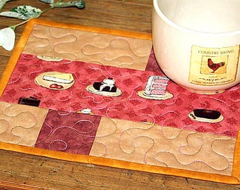 Pink Mug Rugs, Quilted Mug Rugs, Cake Snack Mats, Mug Mats, Set of 2 Mug Rugs, Quiltsy Handmade