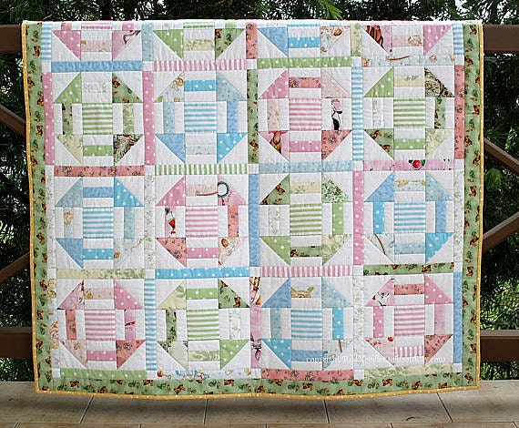 Unisex Baby Quilt, Quilted Baby Blanket, Pink Blue Green Pastels, Baby Bedding, Nursery Throw, Babyshower Gift