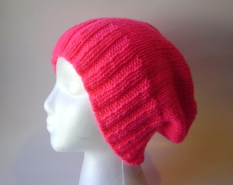Knit Womens Beanie in Neon Pink, Slouchy Hat, Watchcap, Accessory, Hand Knit, Vegan Acrylic, Medium/Large