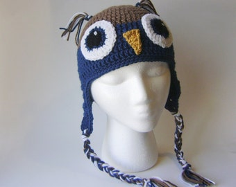 Women's Owl Hat, Crocheted Earflap Beanie Brown and Navy, Adult Size