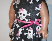 Monster High Skull and Crossbones Dress 18 Inch Doll Clothes Sparkle Fabric Handmade American