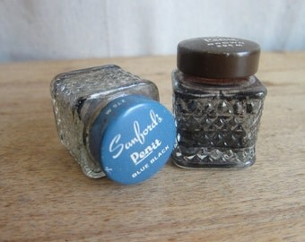 Vintage Sanford's Penit Brown No. 296M and Blue Black No.276M Fountain Pen Ink Bottles