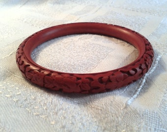 Vintage Carved Cinnabar Bangle