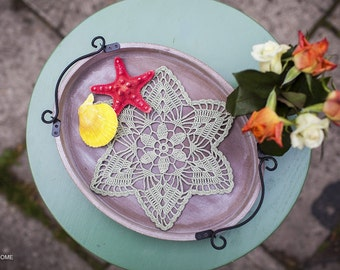 Crochet doily Mini doily NOCTURNE Crochet lace doily Green doily Decorative doily Table linens by Tablecloth Table decor Centerpiece decor