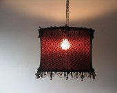 Gothic style ceiling lighting , spider-web-like black lace on burgundy fabric with burgundy glass beads gothic pendant lamp shade