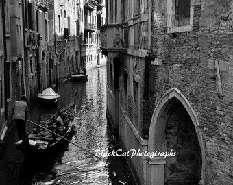 Black and White Art Print, Venice Home Decor, Monochrome, Italy Photo Print, Film Noir, Photograph B & W Venice Fine Art Photograph, Canal