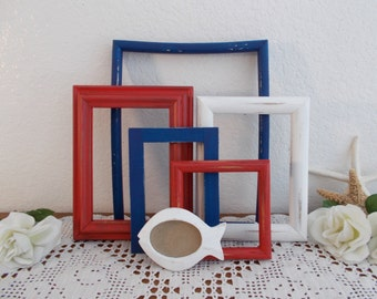 Red White Blue Shabby Chic Nautical Frame Set Rustic Distressed Beach Cottage Coastal Lake House Baby Boy Nursery Home Decor All American