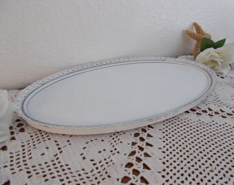 White Shabby Chic Vanity Tray Up Cycled Vintage Rustic Distressed Oval Beach Cottage French Country Farmhouse Romantic Southern Home Decor
