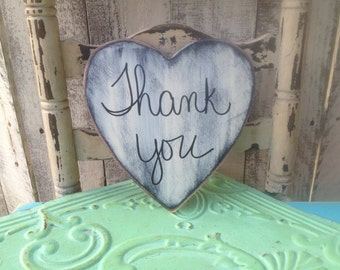 Black and Ivory Thank You Wedding Photo Prop Sign, Wooden Wedding Sign Props, Shabby Chic Thank You Heart