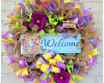 Welcome Wreath, Welcome Jute Mesh Spring Floral Wreath, Welcome Spring Wreath, Spring Jute Mesh Wreath