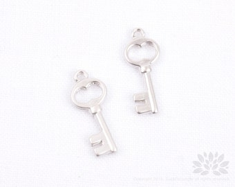 P733-MR//Matt Rhodium Plated Key Pendant, 4pcs