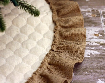 Quilted Christmas Tree Skirt with Natural Burlap Hemmed Ruffle Fringe - 42 Inch Diameter