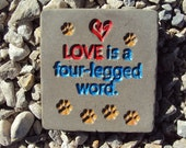 Dog, Animal Rescue, Handmade Engraved Stone Wall Hanging, Inside Outside