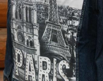 Jean Jacket, Paris, Women's Jacket, Eiffel Tower, Jean Jacket
