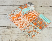Fox Orange Turquoise Rag Quilt Crib Blanket