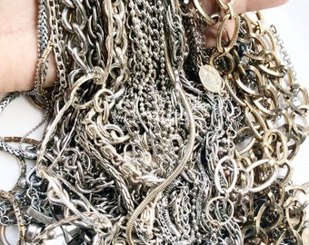 Salvaged chains assorted lot silver and gold toned chains vintage and newer assorted 50 pieces