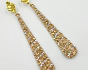 Dangling Rhinestone Earrings, Aurora Borealis Rhinestone Long Dangle Earrings, Pierced Rhinestone Earrings