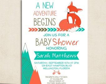 Fox Baby Shower - Fox Invitation - Baby Shower Invite - Fox Woodland Baby Shower Invitation - Gender Neutral Invite - Boho Baby Shower
