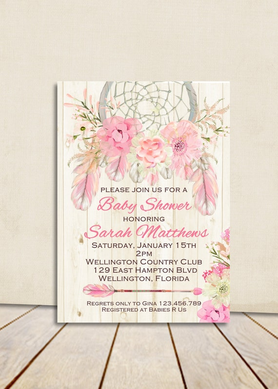 Boho Rustic Wood Dreamcatcher Baby Shower Invitation Pink Girl Printable Shower Custom Invite
