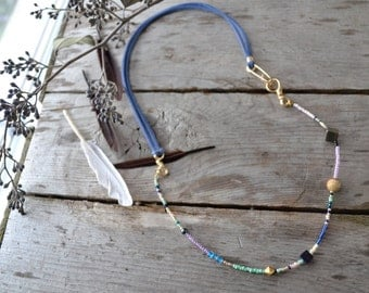 gemstone seed bead leather necklace, hand made crystal jewelry, picture jasper necklace, blue goldstone jewelry, whimsical necklaces for mom