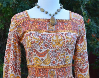 Vintage 1970s Indian Print Dress Size Extra Small/Small